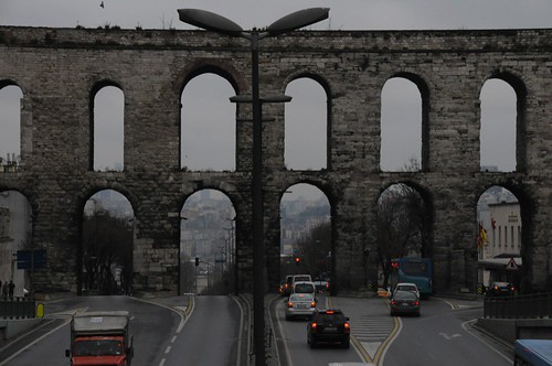 The Valens Aqueduct with the Atatürk Bulvari passing under