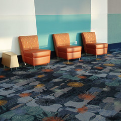 Sunrise (Carrie McGann) Tags: california blue orange sunlight sunshine square carpet three interesting chairs interior anaheim anaheimconventioncenter emptychairsinemptyplacesgroup
