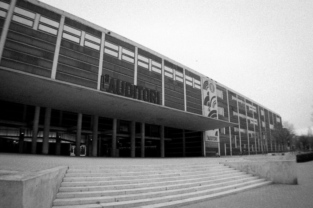 Concert hall in Barcelona. Grainy photo in black and white. It was built in the late nineties and designed by the architect Rafael Moreno