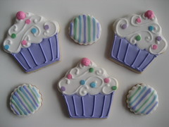 cupcakes and itsy bitsy circles (Songbird Sweets) Tags: birthday cookies cupcakes purple sugar