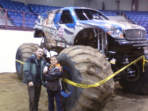A.J. and Jack at the Minot Monster Truck Rally.