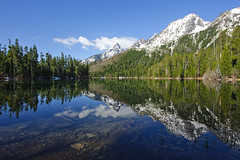 Reflections at String Lake (bhophotos) Tags: travel blue usa snow mountains reflection green nature water landscape geotagged spring nikon day wyoming nikkor tetons jacksonhole grandtetonnationalpark gtnp stringlake lakereflections d700 1424mmf28g projectweather pwpartlycloudy
