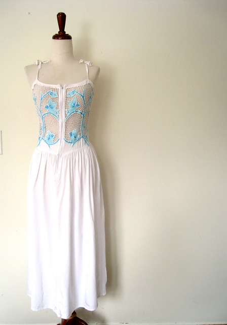 Mesh Lace Shoulder Ties Bleubird Dress, vintage 70's