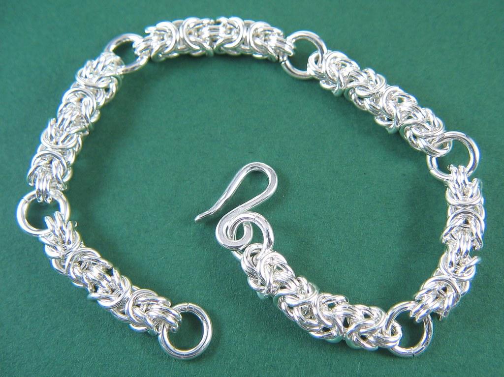 Sterling silver byzantine charm bracelet