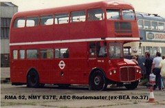 RMA 52, NMY 637E, AEC Routemaster (1), 1967 (t.1987) (Andy Reeve-Smith) Tags: coach bea routemaster britishairways parkroyal londontransport aec britisheuropeanairways