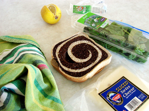 noon - turkey, swiss and basil on marbled rye