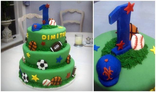 Boy's 1st Birthday Cake - Sports Theme