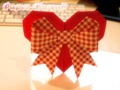 Origami Heart with Ribbon (paperkawaii) Tags: