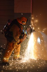 LAFD Makes Forcible Entry with Circular Saw. © Photo by Ryan Babroff