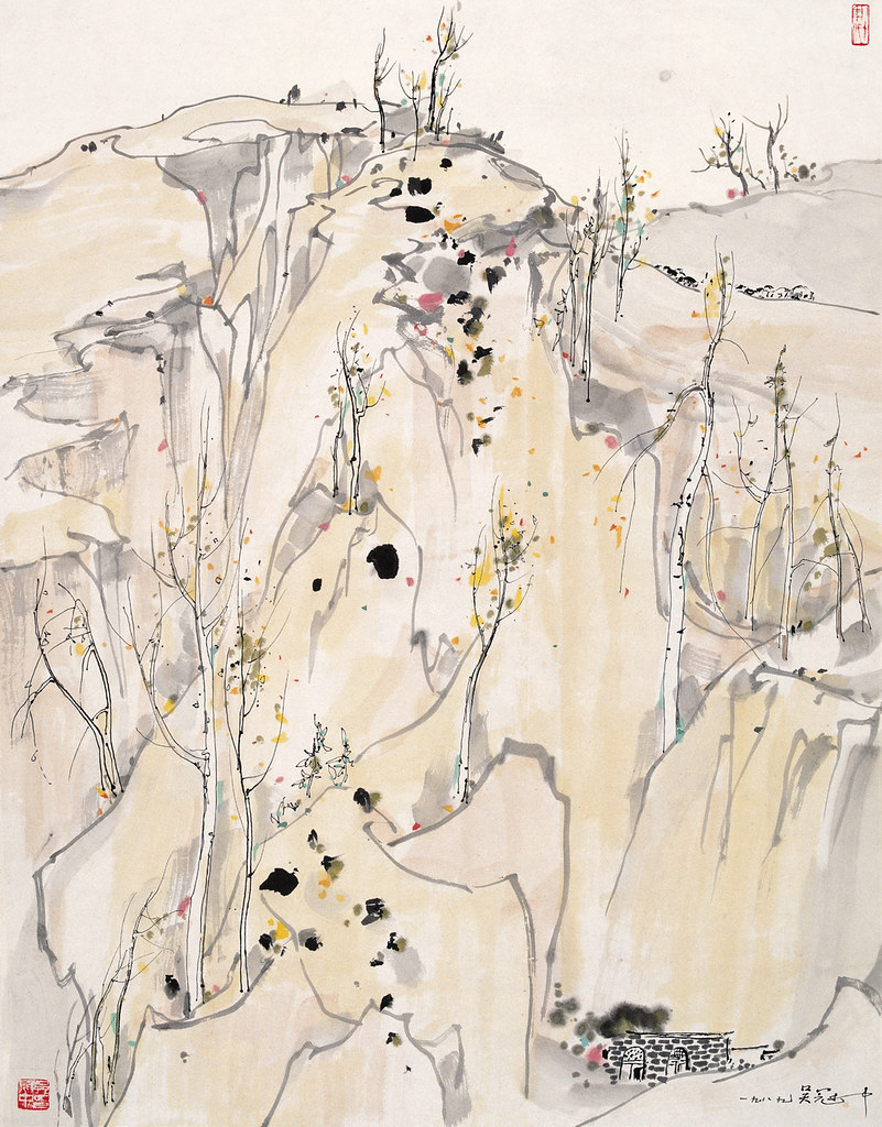 Wu Guanzhong's Plateau | Chinese Painting | China Online Museum: www.chinaonlinemuseum.com/painting-wu-guanzhong-plateau.php