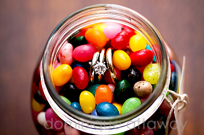 wedding ring and jelly beans
