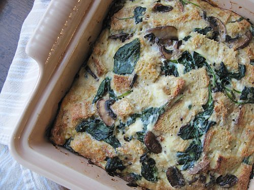 Egg Strada with Mushrooms, Spinach, & Cheese
