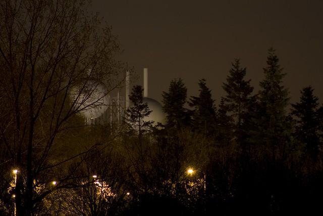 watertower by night