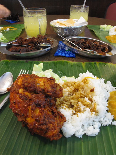 Indian food on a banana leaf