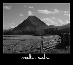 Mellbreak. (Wainwright Warrior) Tags: trees bw mountain clouds nationalpark gate heather lakedistrict meadows rocky sunny cumbria lane scree walls fell picnik steep loweswater mellbreak wainwrght