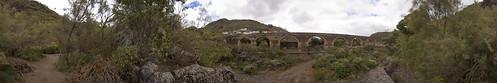 Acueducto desde el Jardín Botánico Viera y Clavijo, Las Palmas de Gran Canaria. Isla de Gran Canaria