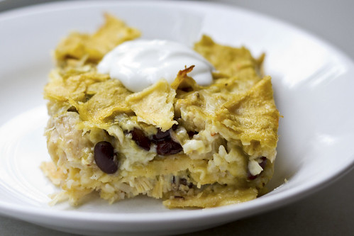 chicken and black bean enchilada