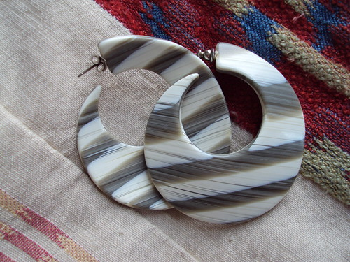 Gray and White Striped Hoop Earrings
