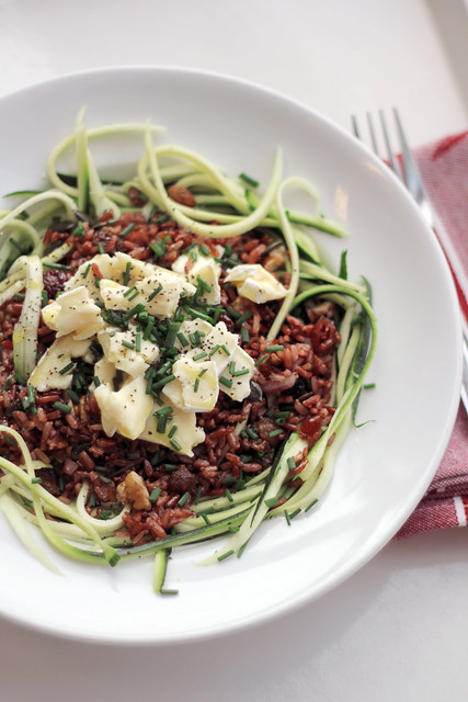 Brie cheese, Red Rice and Spaghetti Courgettes