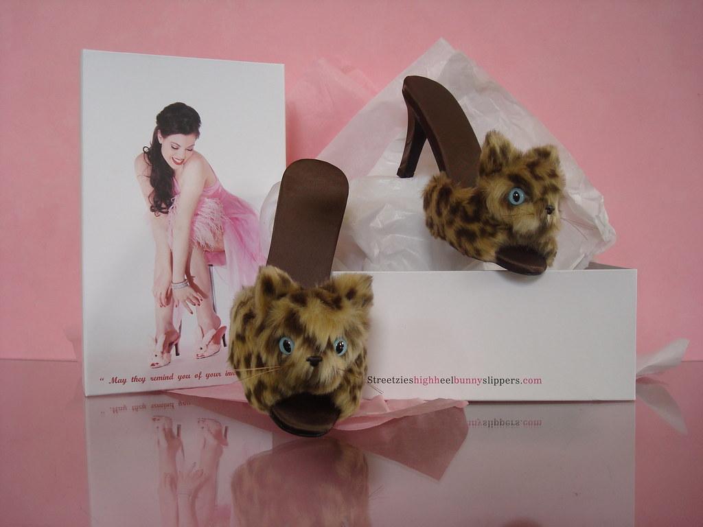 4a2dd6bd44ab Streetzie s High Heel Leopard Kitten Slippers 2 (Streetzie s High Heel  Bunny Slippers) Tags