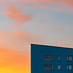 The blue house (marcusholmqvist) Tags: sunset sundown solnedgng architecture kubism cubism art symetri lines color sweden evening night dusk