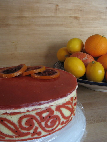 blood orange-caramel entremet