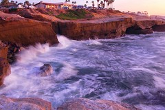 Crashing Waves at Sunset Cliffs (Explored) (canon60dslr) Tags: ocean blue sunset water evening surf swirl splash sunsetcliffs thechallengefactory