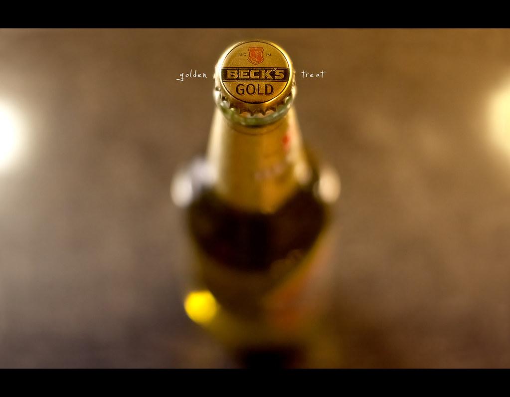 Day 180, 180/365, Project 365, bokeh, gold, golden, light, becks, becks gold, golden treat, High Iso, 50mm, Sigma 50mm F1.4 EX DG HSM, 50mm, warm, beer, beers, bier,