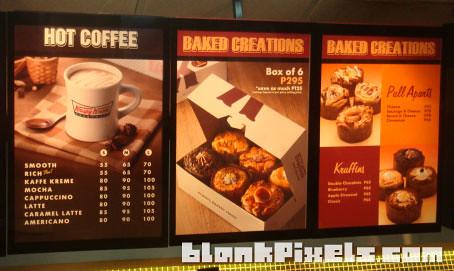 Krispy Kreme's menu - blankpixels.com