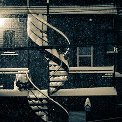 nuit d'hiver / winter night (bbferrand) Tags: winter snow canada stairs canon quebec montreal hiver 85mm explore neige ruelle f18 nuit escaliers villeray madameb 60d canon60d windmillsspirals