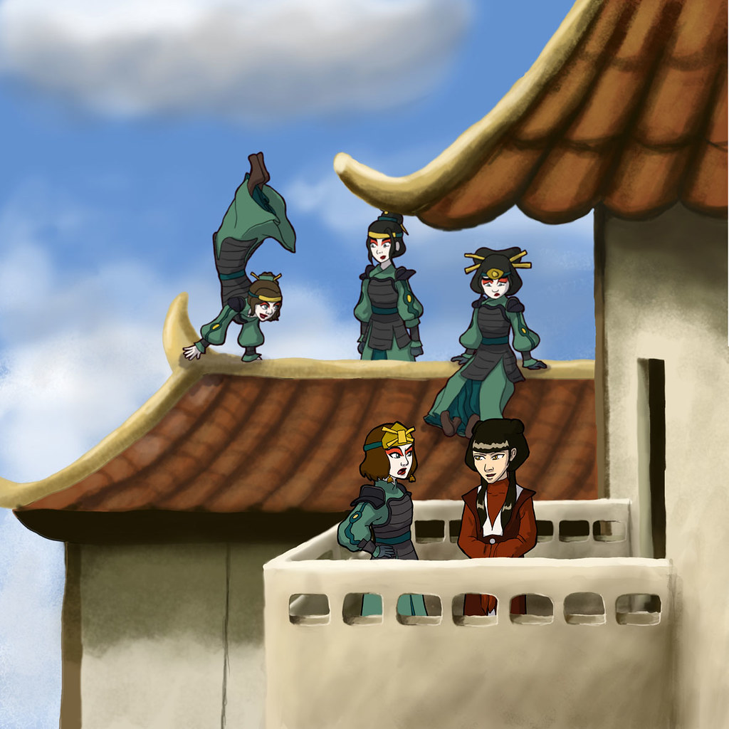 Ty Lee fails to convince her Kyoshi friends that the view from the top of the palace is best appreciated upside down. Suki and Mai converse on the subject from a slightly safer location.