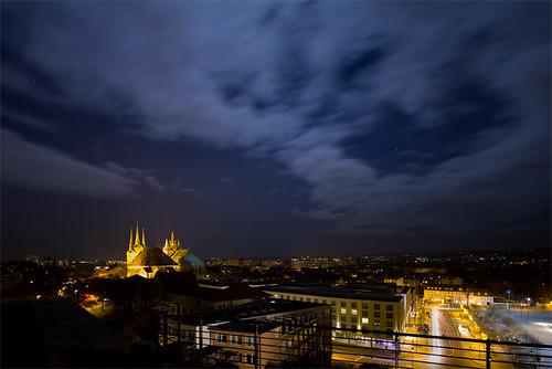 Mondlicht über dem Erfurter Dom - Langzeitblichtung