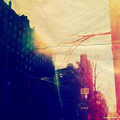 E. 73rd Street & Park Ave. (Manhattan Girl) Tags: nyc trees sunlight signs square manhattan fauxlomo fauxholga 500x500 papertexture usedaholgaoverlayofoneofmyfilmnegatives