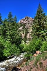 Colorado Highway (Geekstalt) Tags: travel usa sunlight mountain tree river outdoors nikon colorado view unitedstatesofamerica denver estespark hdr d90
