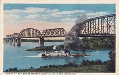 Postcard: New K&I R.R. Bridge between Louisville, KY and New Albany, Ind. (jmlwinder) Tags: ky bridges louisville steamboat picnik in newalbany scannedpostcards kentuckyandindianarr