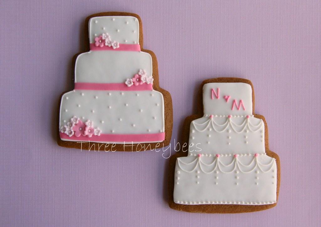 Pink Wedding Cake Cookies