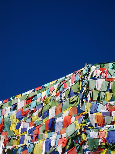 Prayer flags and very blue sky
