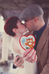 A Wise Old Owl Said You Would Be My Valentine (Jade M. Sheldon) Tags: love rain vintage kiss couple dof bokeh valentine owl smooch jademsheldonphotography