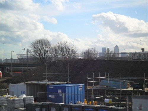 Olympic Site from Hackney Marshes - Feb 2011 - Towards the Stadium & Canary Wharf