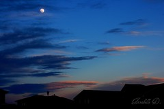 Roof line at dusk (Annabelle.D.) Tags: sunset moon dusk roofline abigfave