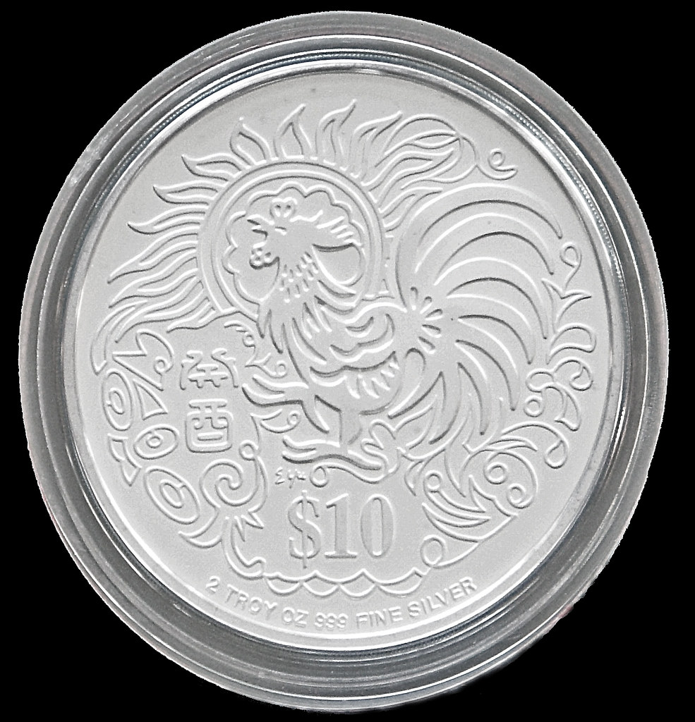1993 Year of the Rooster $10 Silver Piedfort Proof Coin