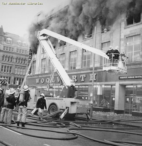 Woolworths fire, Manchester, 1979 by archivesplus