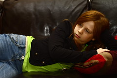 indi (apdk) Tags: color colour leather pose model child redhead concentrate