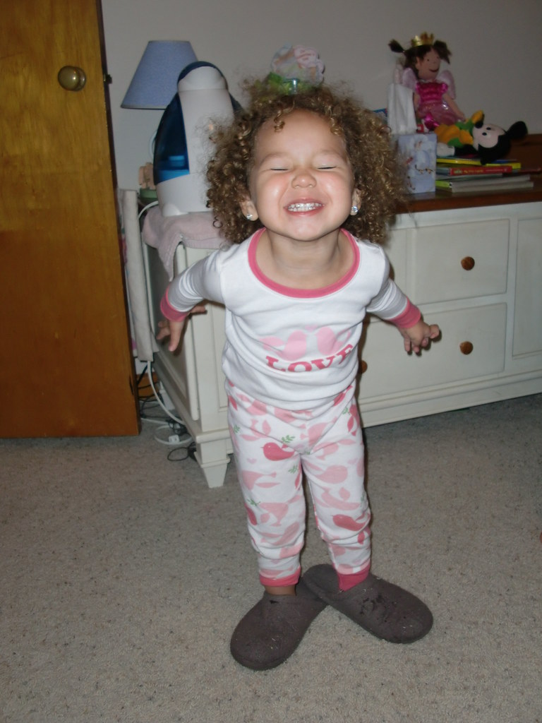 Wearing Mommy's Slippers (and cheesin!)