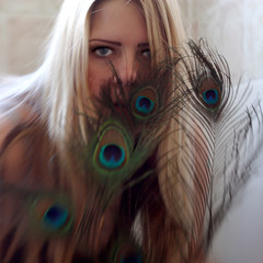 Peacock (Full Circle Photography- Calgary) Tags: light portrait selfportrait blur color art female lensbaby self canon square eyes focus feather peacock sp 365 composer 2011 365days sooc 365project
