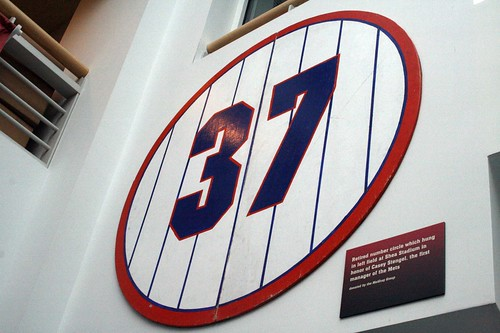 Casey Stengel's retired number, from Shea