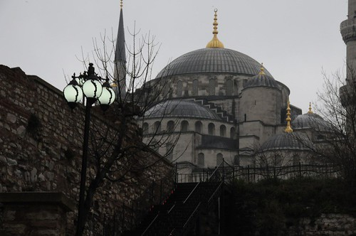 Our first sight of the Blue Mosque