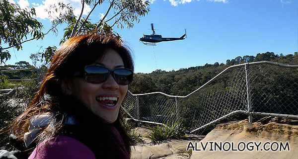 We were as high up the Blue Mountains as this helicopter was!