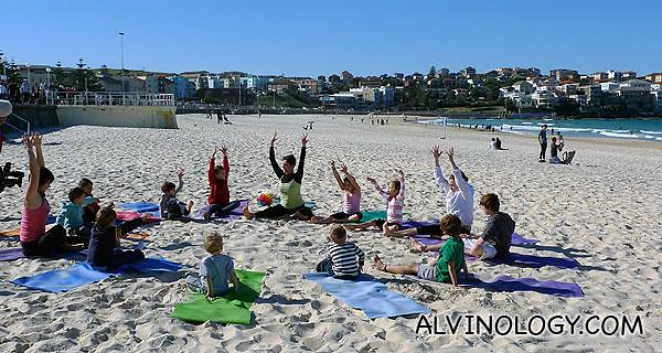 Beach yoga class!