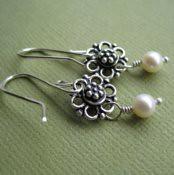 Fancy Flower Pearl Earrings